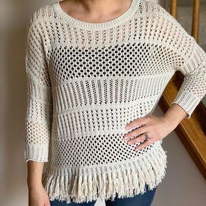 Lovestitch Boho Sweater With Fringe Cream Size S